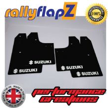SWIFT 2ND GEN (2008-2010) BLACK MUDFLAPS (Logo White)